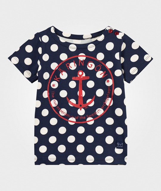 Emma och Malena Anchor t-shirt Navy/White dots/Red anchor
