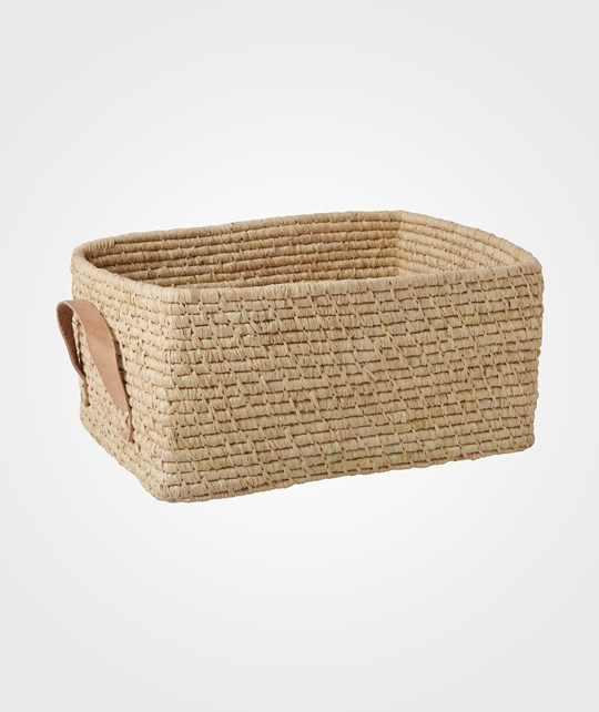 Rice Rectangular Raffia Basket with Leather Handles NATURE