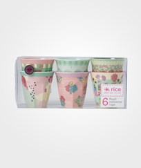 RICE A/S 6 Small Two Tone Melamine Cups with Assorted 'Extraordinary' Prints Multi