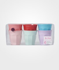 RICE A/S 6 Medium Melamine Cups Assorted 'Extraordinary' Colors Multi