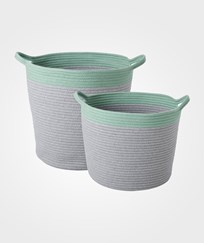 RICE A/S Set of 2 Round Rope Storage Baskets Grey/Green Grey/Mint