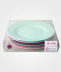 RICE A/S 6-pack Melamine Round Side Plates in 6 Assorted 'Extraordinary' Colors Multi
