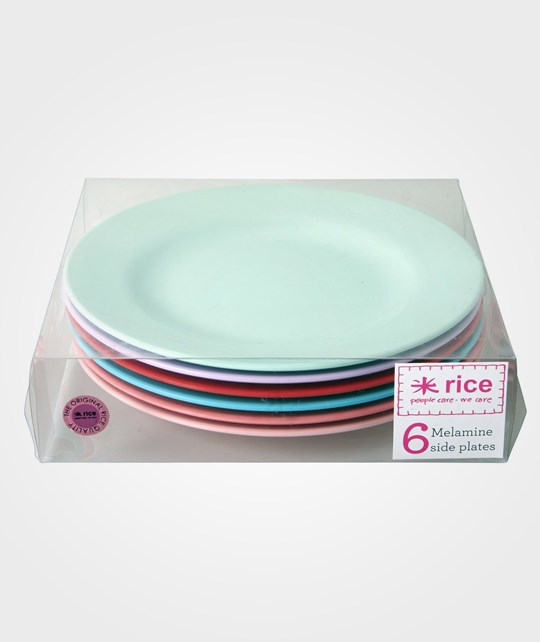 Rice 6-pack Melamine Round Side Plates in 6 Assorted 'Extraordinary' Colors Multi