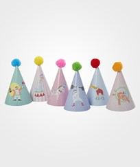 RICE A/S Kids Paper Party Hat with Pompom 6 Assorted Prints Multi