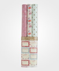 RICE A/S 9 Sheets of Wrapping Paper 3 Assorted X-mas Prints and To & From Stickers Multi