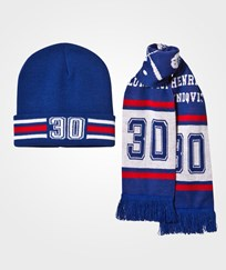 The BRAND Make A Save Scarf & Beanie Set Red/Blue Green