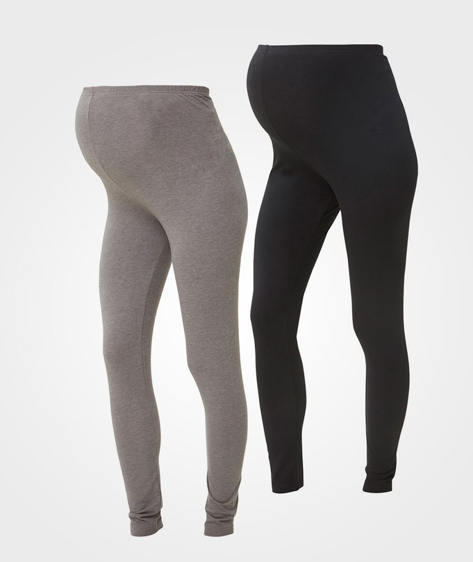 Mamalicious 2-Pack Organic Leggings Black/Medium Grey BLACK/MEDIUM GREY