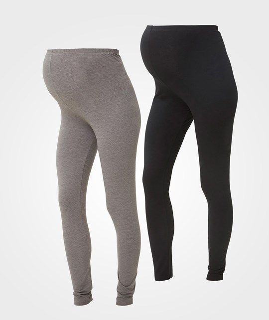 Mamalicious 2-Pack Ekologiska Leggings Svart/Mediumgrå BLACK/MEDIUM GREY