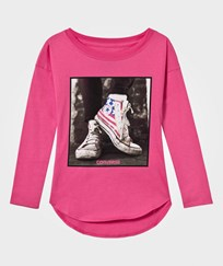 Converse Pink Long Sleeve Photo Real Drop Shoulder Tee A3J MOD PINK