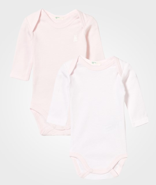United Colors of Benetton 2-pack Body T-shirt Long Sleeve Pink/Stipe Pink Pink