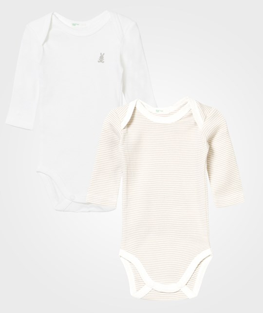 United Colors of Benetton 2-Pack Baby Body Beige/Randig Beige