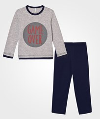 United Colors of Benetton Game Over Print Pajamas Grey Black