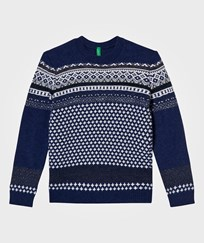 United Colors of Benetton Jacquard Knit Sweater Navy Marinblå