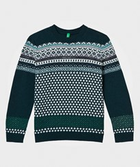 United Colors of Benetton Jacquard Knit Sweater Green Green