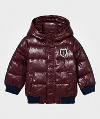 United Colors of Benetton Hooded Bomber Jacket Burgundy/Navy Burgundy Navy