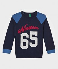United Colors of Benetton Cotton Blend Sweater Navy Marinblå