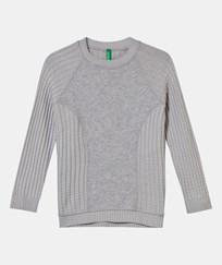 United Colors of Benetton Crewneck Sweater with Panel Grey Sort