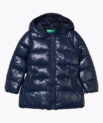 United Colors of Benetton Long Hooded Puffer Jacket Navy Navy