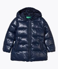 United Colors of Benetton Long Hooded Puffer Jacka Marinblå Navy