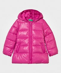 United Colors of Benetton Long Hooded Puffer Jacka Rosa Pink