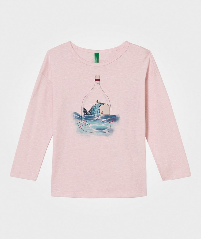 United Colors of Benetton Whale Print T-Shirt Pink Pink