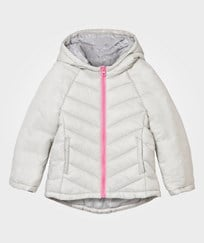 United Colors of Benetton Chevron Hooded Puffer Jacket Grey Sort