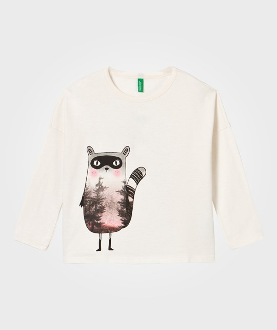 United Colors of Benetton Forest Raccoon T-Shirt White White