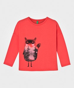 United Colors of Benetton Long Sleeve Forest Racoon T-Shirt Pink