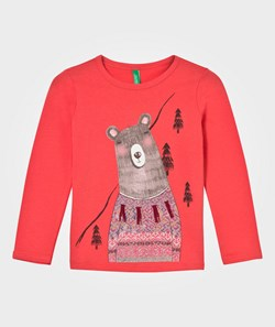 United Colors of Benetton Bear Print Long  Sleeve  T-Shirt Pink