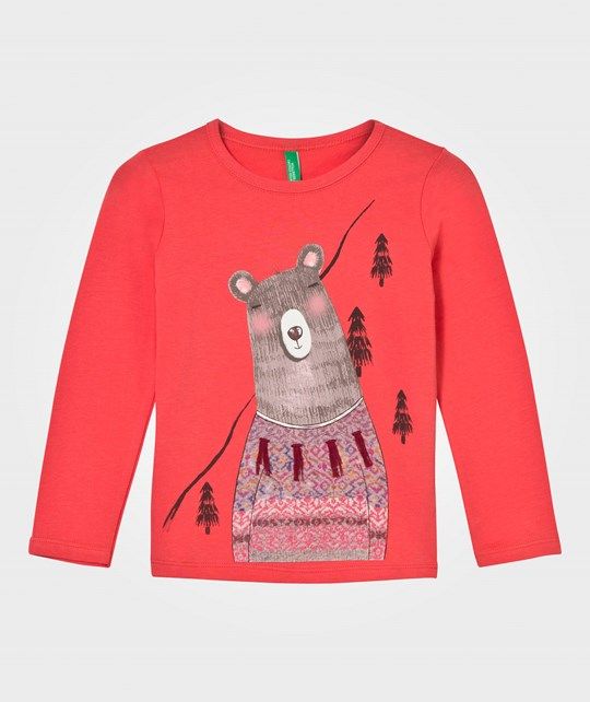United Colors of Benetton Bear Print Long  Sleeve  T-Shirt Pink Pink