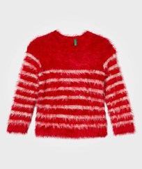United Colors of Benetton Fuzzy Sweater Red/Off White Red Off White