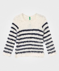 United Colors of Benetton Fuzzy Tröja Off White/Marinblå Off White Navy