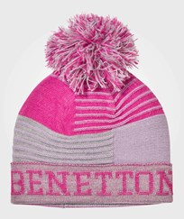 United Colors of Benetton Pom Pom Knit Hat Grey/Pink Pink
