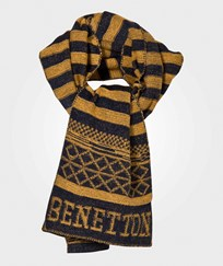 United Colors of Benetton Scarf Navy/Yellow Yellow