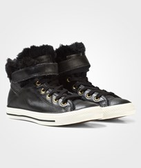 Converse Black Fur Lining Chuck Taylor All Star Brea Hi Tops BLAKC/BLACK/EGRET