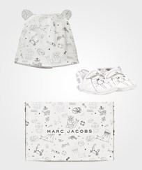 Little Marc Jacobs White and Black Walrus Print Booties and Hat Set 117