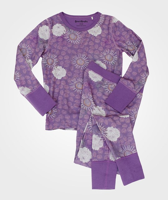 Beau & Rooster Purple Flower Pyjamas Crushed Grape Crushed Grape