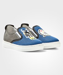 Fendi Blue Monster Mesh Slip Ons F0NG1