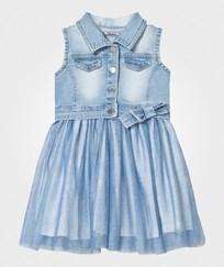 Mayoral Blue Diamante Denim and Tulle Overlay Dress 6
