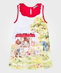 Mayoral Red Girl Cottage Print Jersey Dress 36