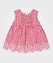 Mayoral Red Gingham Print and Lace Detail Dress 14