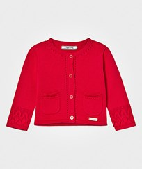 Mayoral Red Jersey Cardigan with Pointelle Detail Cuffs 63