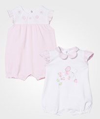 Mayoral White and Pink Daisy Applique Rompers 2-Pack 3