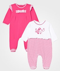 Mayoral Fuchsia and White Patterned Footed Baby Body 2-Pack 46