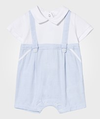 Mayoral White Collared Mock Dungaree Romper 1