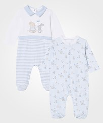 Mayoral Pale Blue Bear and Rabbit Footed Baby Body 2-Pack 34