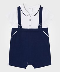 Mayoral White and Navy Button Detail Romper 46