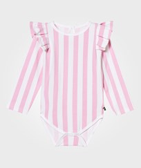 The BRAND Flounce Baby Body Pink Stripe Pink