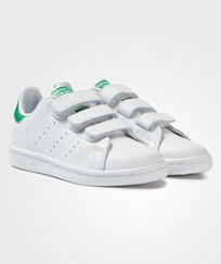 Adidas Originals White Stan Smith Velcro Trainers FTWR WHITE/FTWR WHITE/GREEN