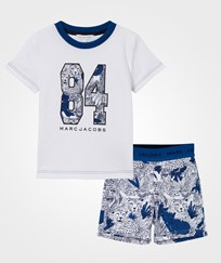 Little Marc Jacobs White Branded Tee and Printed Shorts Pyjamas V21